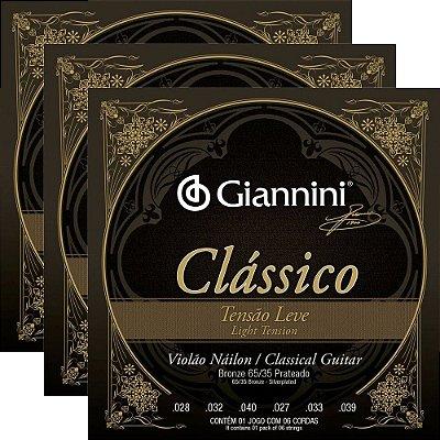 Kit Encordoamento Violão Nylon Giannini GENWPL Clássico Tensão Leve - 3 unidades
