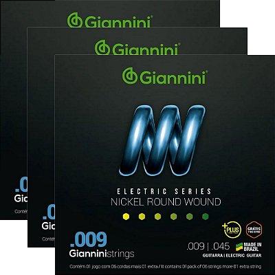 Kit Encordoamento Guitarra Giannini 009-045 Plus GEEGSTP9 - 3 unidades