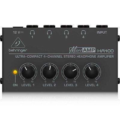 Amplificador para Fones de Ouvido Behringer HA400 MicroAmp - 4 Canais - Ultra Compacto