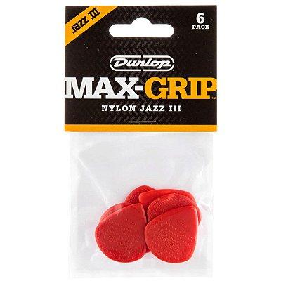 Palheta Dunlop Max-Grip Nylon Jazz III Vermelha - 6 unidades