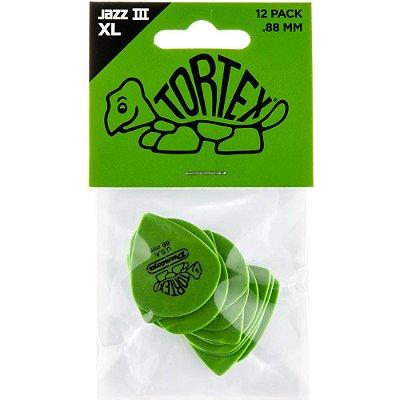 Palheta Dunlop 498P Tortex Jazz III XL 0.88mm Verde - pacote com 12 un