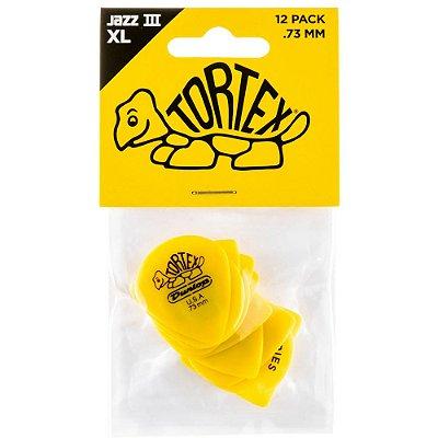 Palheta Dunlop 498P Tortex Jazz III XL 0.73mm Amarela - pacote com 12 un