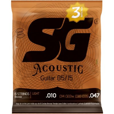 Encordoamento Violão SG 010-047 Bronze 85/15 Light - Pack com 3 unidades
