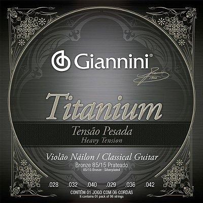 Encordoamento Violão Nylon Giannini GENWTA Titanium Tensão Pesada