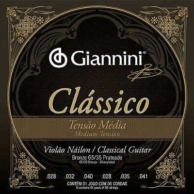 Encordoamento Violão Nylon Giannini GENWPM Clássico Tensão Média