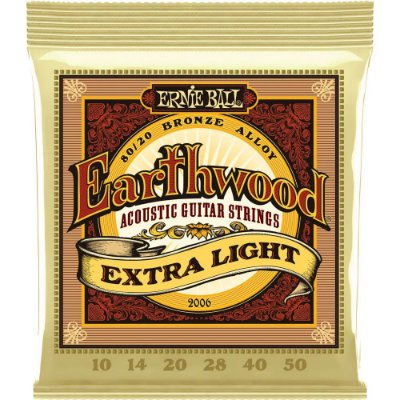 Encordoamento Violão Ernie Ball Earthwood 2006 010-050 - 80/20 Bronze Extra Light