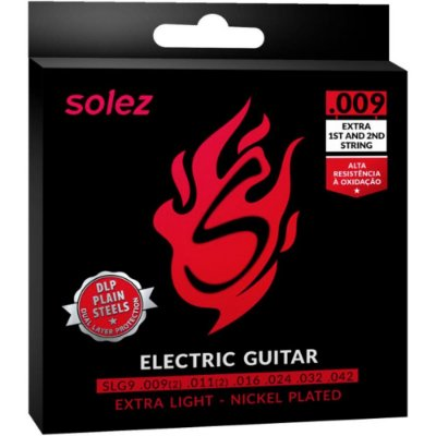Encordoamento Guitarra Solez SLG9 009-042 Extra Light - 1ª e 2ª extra
