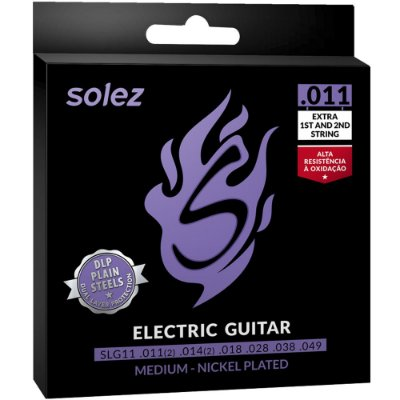 Encordoamento Guitarra Solez SLG11 011-049 Medium - 1ª e 2ª extra