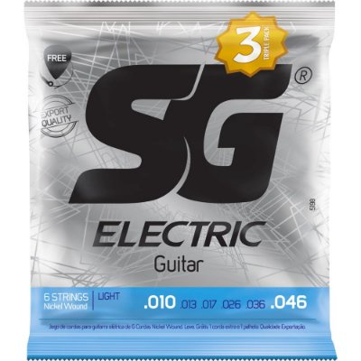 Encordoamento Guitarra SG 010-046 Light - Pack com 3 unidades