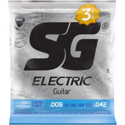 Encordoamento Guitarra SG 009-042 Extra Light - Pack com 3 unidades