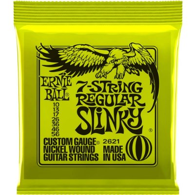 Encordoamento Guitarra 7 cordas Ernie Ball 2621 010-056 7-String Regular Slinky