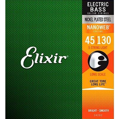 Encordoamento Baixo 5 Cordas Elixir 045-130 Nanoweb Light 14202