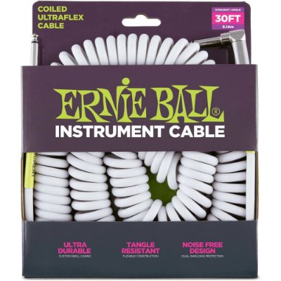 Cabo Ernie Ball 6045 Coiled Ultraflex Cable Branco - espiral - 9,14m