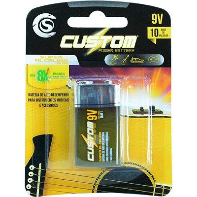 Bateria 9V 6LR61 Custom Power Super Alcalina - unidade - CSPB 9V - BK