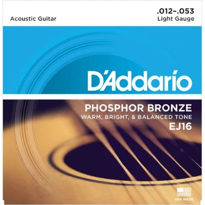 Encordoamento Violão D'Addario 012-053 EJ16 Light Phosphor Bronze