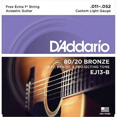 Encordoamento Violão D'Addario 011-052 EJ13-B Custom Light 80/20 Bronze c/ corda extra