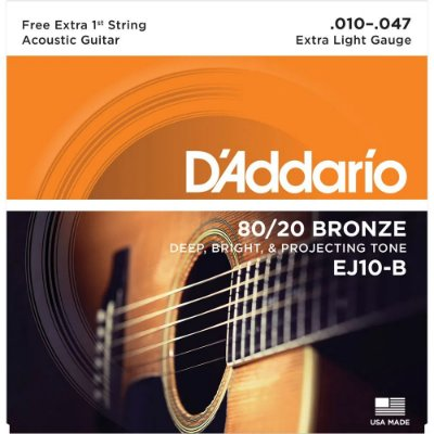 Encordoamento Violão D'Addario 010-047 EJ10-B Extra Light 80/20 Bronze - com corda extra