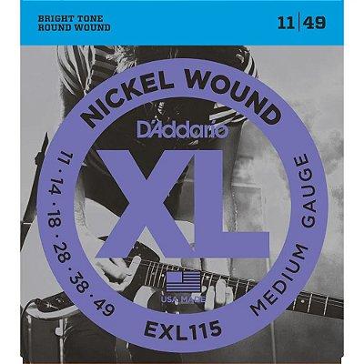 Encordoamento Guitarra D'Addario 011-049 EXL115-B Medium - com corda extra