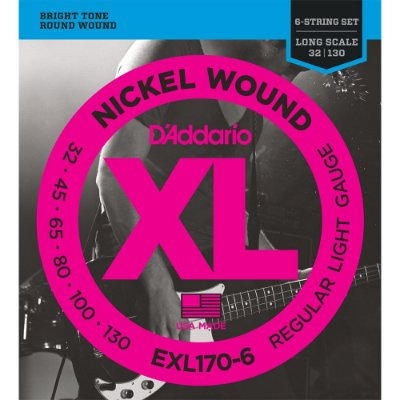 Encordoamento Baixo 6 cordas D'Addario 032-130 EXL170-6 Regular Light Nickel