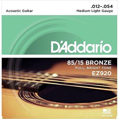 Encordoamento Violão D'Addario 012-054 EZ920 Medium Light 85/15 Bronze