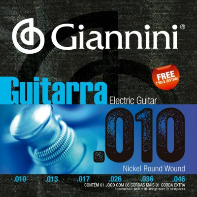 Encordoamento Guitarra Giannini GEEGST10 010-046 Nickel Round Wound