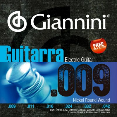 Encordoamento Guitarra Giannini GEEGST9 009-042 Nickel Round Wound