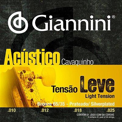 Encordoamento Cavaquinho Giannini Tensão Leve Bronze 65/35 Prateado GESCLA