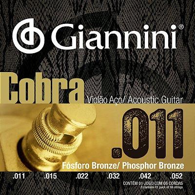 Encordoamento Violão Giannini .011-.052 Cobra Phosphor Bronze GEEFLKF