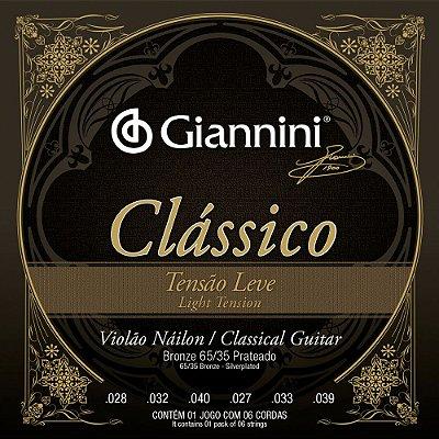 Encordoamento Violão Nylon Giannini GENWPL Clássico Tensão Leve