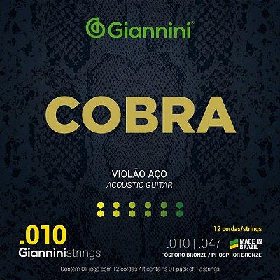Encordoamento Violão 12 Cordas Giannini 010-050 Fósforo Bronze GEEF12MF