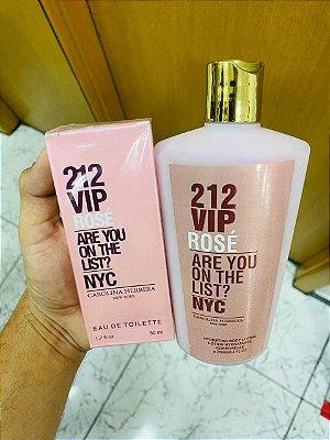 Kit Perfume e Hidratante 212  Vip Rosê