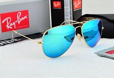 Óculos RB Aviador Azul Espelhado