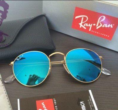 Óculos RB Round  Azul Espelhado