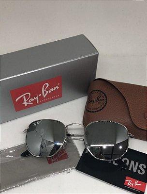 Óculos RB Hexagonal Prata Espelhado
