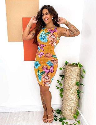 Vestido Decote nas Costas Floral Mostarda