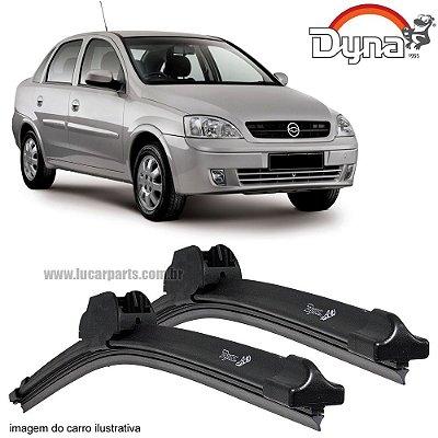Palheta Limpador de Parabrisa Corsa Sedan de 2001 até 2011 da Dyna Modelo Slim Blade, O Par Dianteiro