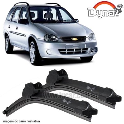 Palheta Limpador de Parabrisa Corsa Wagon de 1997 até 2002 da Dyna Modelo Slim Blade, O Par Dianteiro