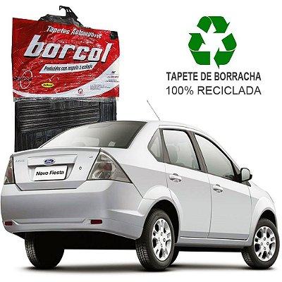 Tapete Borcol Fiesta Sedan 2003 em diante de Borracha Jogo c/ 4 Peças