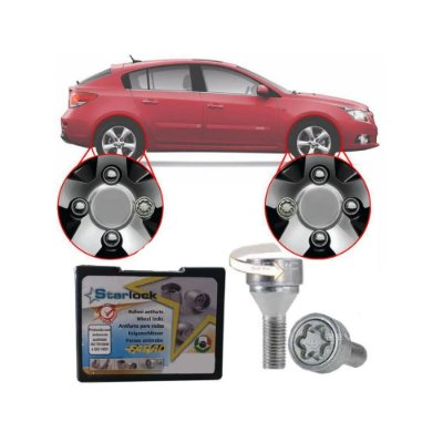 Trava Antifurto Anti Roubo de Roda Parafuso Porca Farad Starlock Chevrolet Cruze Hatch