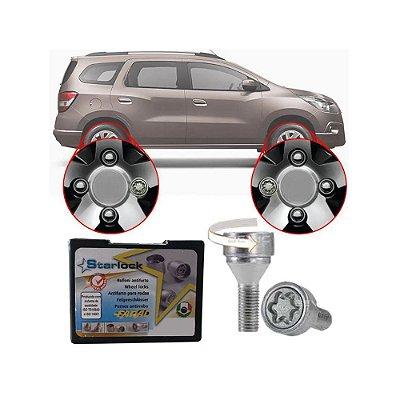 Trava Antifurto Anti Roubo de Roda Parafuso Porca Farad Starlock Chevrolet Spin 2013 à 2019