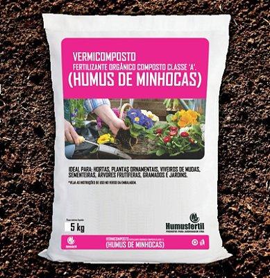 HÚMUS DE MINHOCAS ADUBO ORGÂNICO 5 KG + BRINDE