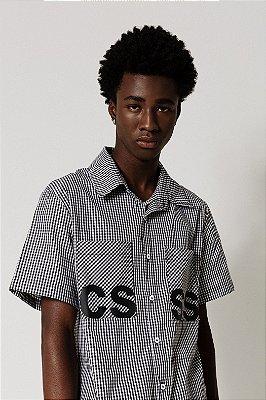 Camisa Vichy Manga Curta Preta CSSS