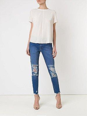 Amapô Calça Jeans Skinny Cropped Royal