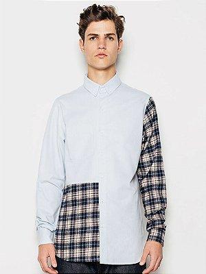 Piet Camisa Oxford Patchwork Azul Claro