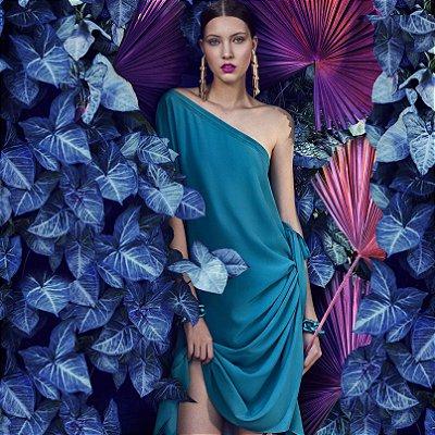 Vestido Amarração Turquoise Seda Choix