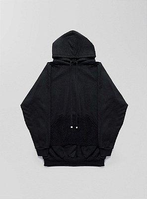 Blusa moletom oversized capuz bolso pelúcia