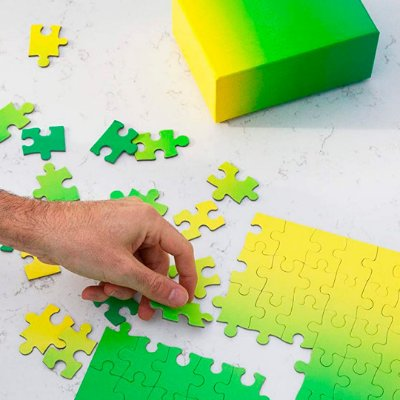 Gradient Puzzle Pequeno - 100 peças (Green/Yellow)
