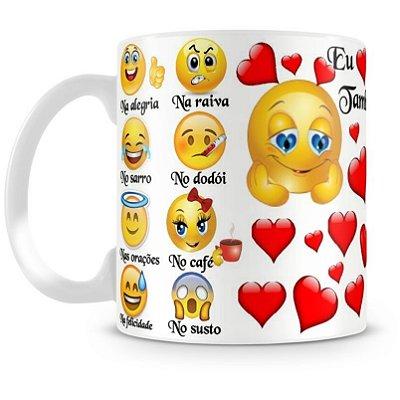 Caneca Personalizada Porcelana Emoji Também Te Amo
