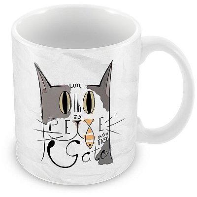 Caneca Personalizada Porcelana Um Olho no Peixe Outro no Gato