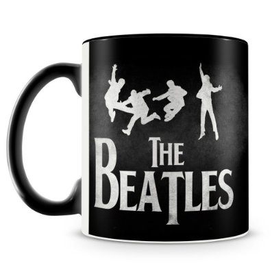 Caneca Personalizada Porcelana The Beatles (Preta)